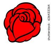 red rose isolated on white... | Shutterstock .eps vector #636433364