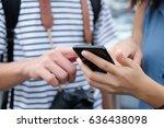 close up asian traveler woman... | Shutterstock . vector #636438098