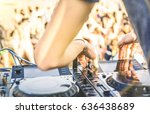 close up of dj playing electro... | Shutterstock . vector #636438689