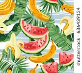 seamless pattern with tropical... | Shutterstock .eps vector #636439124