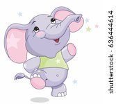 cheerful baby elephant  cute ... | Shutterstock .eps vector #636444614