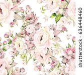 seamless pattern of bouquets of ... | Shutterstock . vector #636448460
