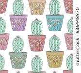 cactus in ornamental pots... | Shutterstock .eps vector #636448970