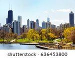 chicago skyline with... | Shutterstock . vector #636453800