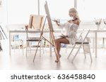 inspired by the artist sitting... | Shutterstock . vector #636458840