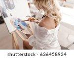 woman sitting in light studio...   Shutterstock . vector #636458924