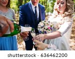 wedding couple with bridesmaids ... | Shutterstock . vector #636462200