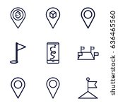 gps icons set. set of 9 gps... | Shutterstock .eps vector #636465560