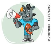 rhino football player speaks... | Shutterstock .eps vector #636476060