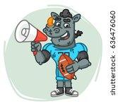 rhino football player speaks... | Shutterstock .eps vector #636476060