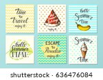 vector set of cards. summer... | Shutterstock .eps vector #636476084