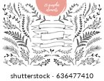 hand sketched vector vintage... | Shutterstock .eps vector #636477410