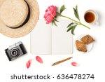 minimal styled flat lay... | Shutterstock . vector #636478274