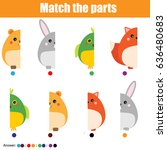 Stock vector matching children educational game match animals parts activity for pre shool years kids 636480683