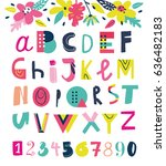 bright summer abc with numbers...   Shutterstock .eps vector #636482183