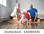 a sports family is engaged in... | Shutterstock . vector #636486530