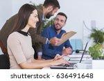 group of businesspeople working ... | Shutterstock . vector #636491648