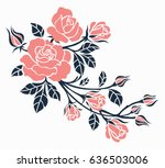 Stock vector flower motif sketch for design 636503006