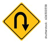u turn roadsign   yellow road... | Shutterstock .eps vector #636503558