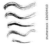 ink vector brush strokes set.... | Shutterstock .eps vector #636504410