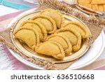 gujiya or gujia is a indian... | Shutterstock . vector #636510668