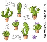 set illustration with cactus... | Shutterstock .eps vector #636515024