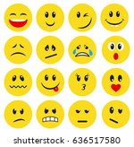 set of yellow emoticons and... | Shutterstock .eps vector #636517580