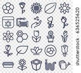 flower icons set. set of 25... | Shutterstock .eps vector #636525620