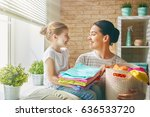 beautiful young woman and child ... | Shutterstock . vector #636533720