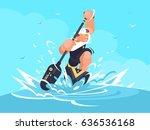 strong man in canoe | Shutterstock .eps vector #636536168