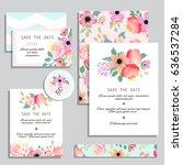 vintage wedding invitations.... | Shutterstock .eps vector #636537284
