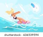 sport girl on kite surfing   Shutterstock .eps vector #636539594