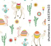 Stock vector seamless background with camels with ethnic saddles cactus and flowers vector illustration 636539633