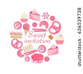 sweet invitation. cute pink... | Shutterstock .eps vector #636539738