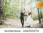 young funny happy wedding... | Shutterstock . vector #636542474