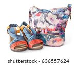modern stylish shoes and bag... | Shutterstock . vector #636557624
