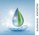 transparent drop of water on a... | Shutterstock .eps vector #636569540