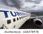 Small photo of Mus, Turkey - May 06, 2017: People are boarding into the Turkish Airlines plane in the airport of Mus - Turkey