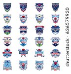 set of color hockey badges ... | Shutterstock . vector #636579920