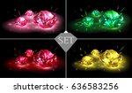 set of multicolored gemstones... | Shutterstock .eps vector #636583256