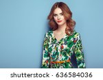 blonde young woman in floral...   Shutterstock . vector #636584036
