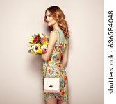 blonde young woman in elegant... | Shutterstock . vector #636584048
