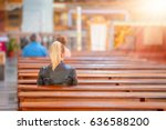 people praying in a church | Shutterstock . vector #636588200
