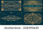 retro cards set with engraving... | Shutterstock .eps vector #636590630