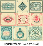 9 old cards with floral details. | Shutterstock .eps vector #636590660