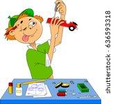 little boy makes a model of a... | Shutterstock .eps vector #636593318