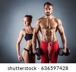 beautiful sporty couple on a... | Shutterstock . vector #636597428