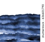 Abstract Blue Ink Wash Painting ...