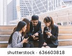 group of young businessman and... | Shutterstock . vector #636603818