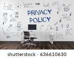 privacy policy   desk in an... | Shutterstock . vector #636610630